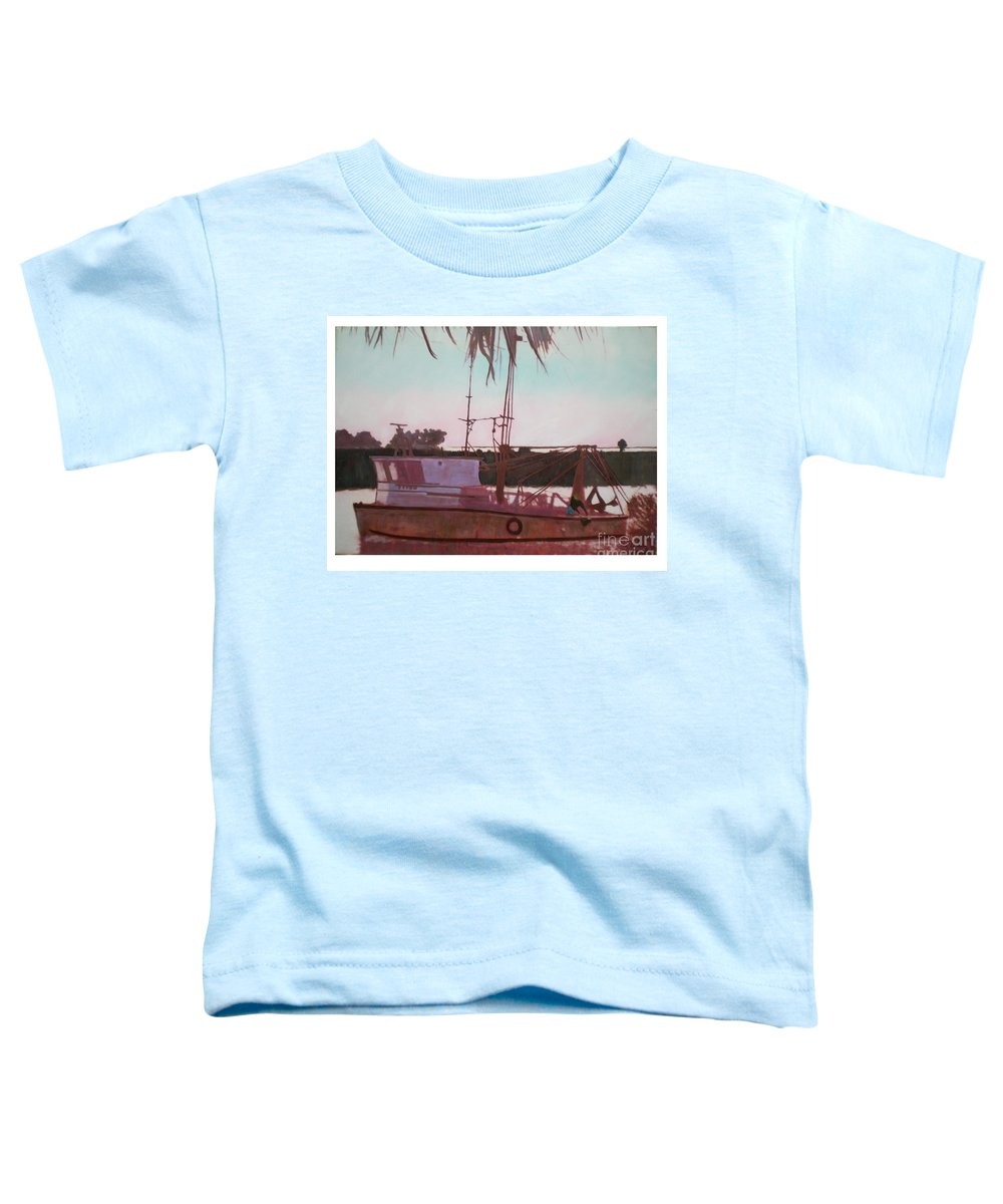 Seascape Toddler T-Shirt featuring the digital art Yankee Town Fishing Boat by Hal Newhouser