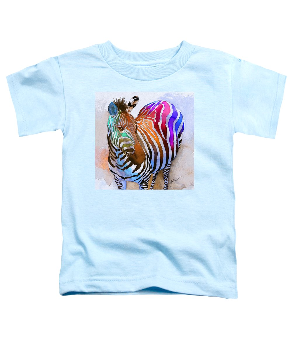 Colorful Toddler T-Shirt featuring the painting Zebra Dreams by Galen Hazelhofer