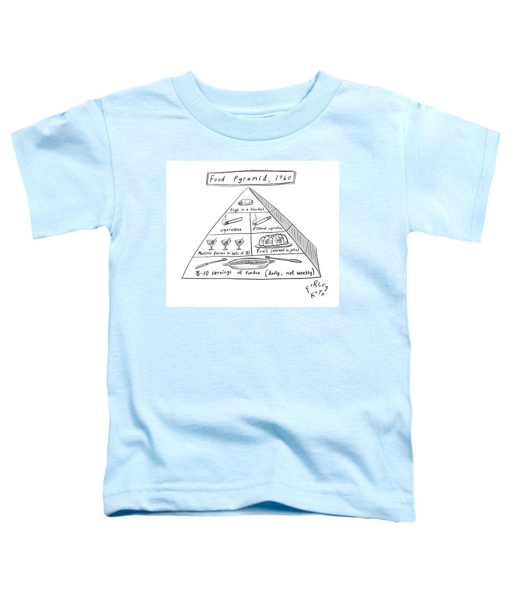 Food Pyramid Toddler T-Shirt featuring the drawing 1960s Food Pyramid by Farley Katz
