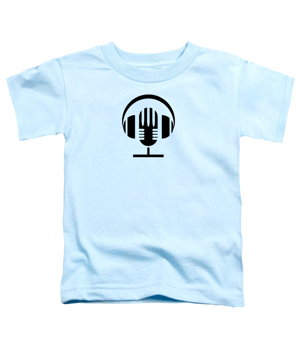 Microphone; Headphones; Icon; Illustration; Vector; Design; Vintage; Background; Dj; Radio; Equipment; Sign; White; Sound; Retro; Black; Symbol; Old; Technology; Studio; Music; Audio; Record; Volume; Broadcast; Style; Graphic; Element; Communication; Rock; Entertainment; Media; Musical; Broadcasting; Karaoke; Earphone; Stand; Flat; Isolated; Voice; Mic; Speech; Audience; Concert; Stage; Speak Toddler T-Shirt featuring the digital art Music 2 by Andreas Berheide
