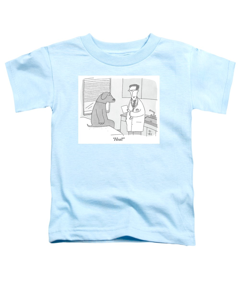 Doctor's Office Toddler T-Shirt featuring the drawing A Doctor Speaks To A Man In A Dog Costume Who by Peter C Vey