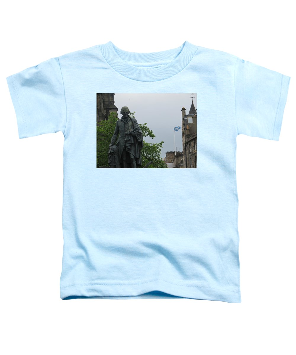 Adam Smith Statue Toddler T-Shirt featuring the photograph Adam Smith Statue With The Scottish Flag by Ranim Asfahani