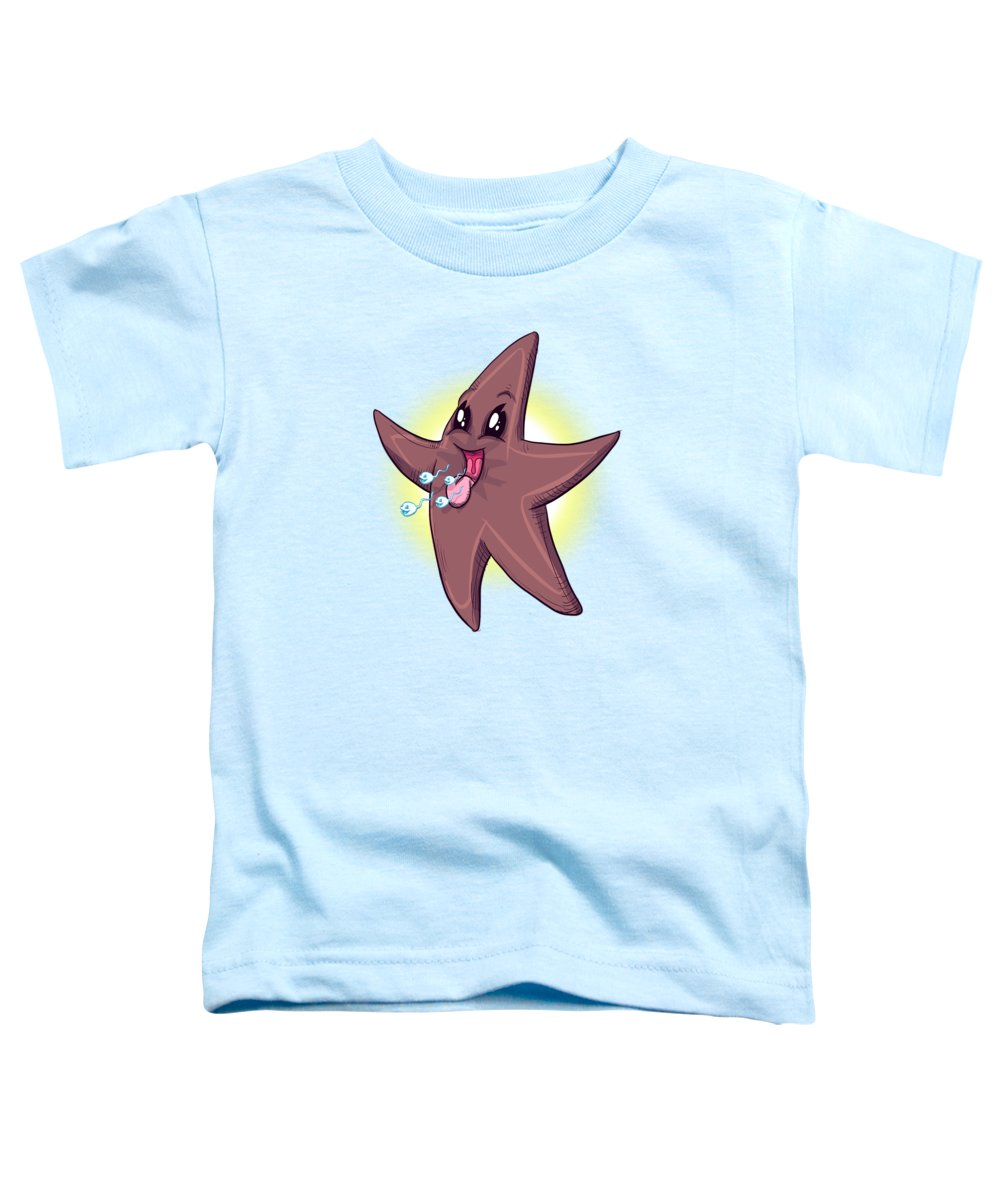 Chocolate Starfish Toddler T-Shirt featuring the drawing Chocolate Starfish by Ludwig Van Bacon