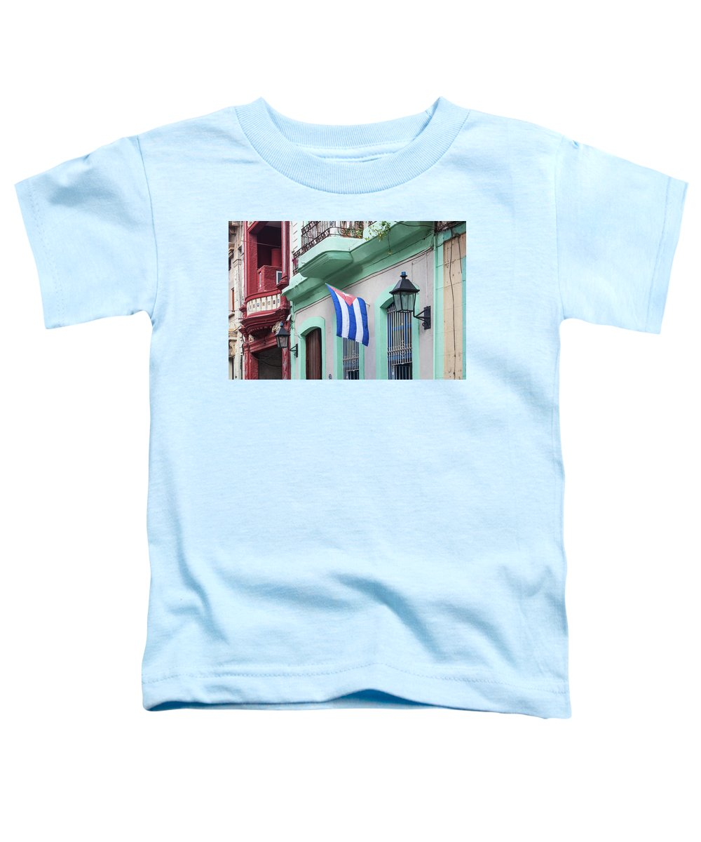 Photography Toddler T-Shirt featuring the photograph Cuban Flag On A Building, Havana, Cuba by Panoramic Images