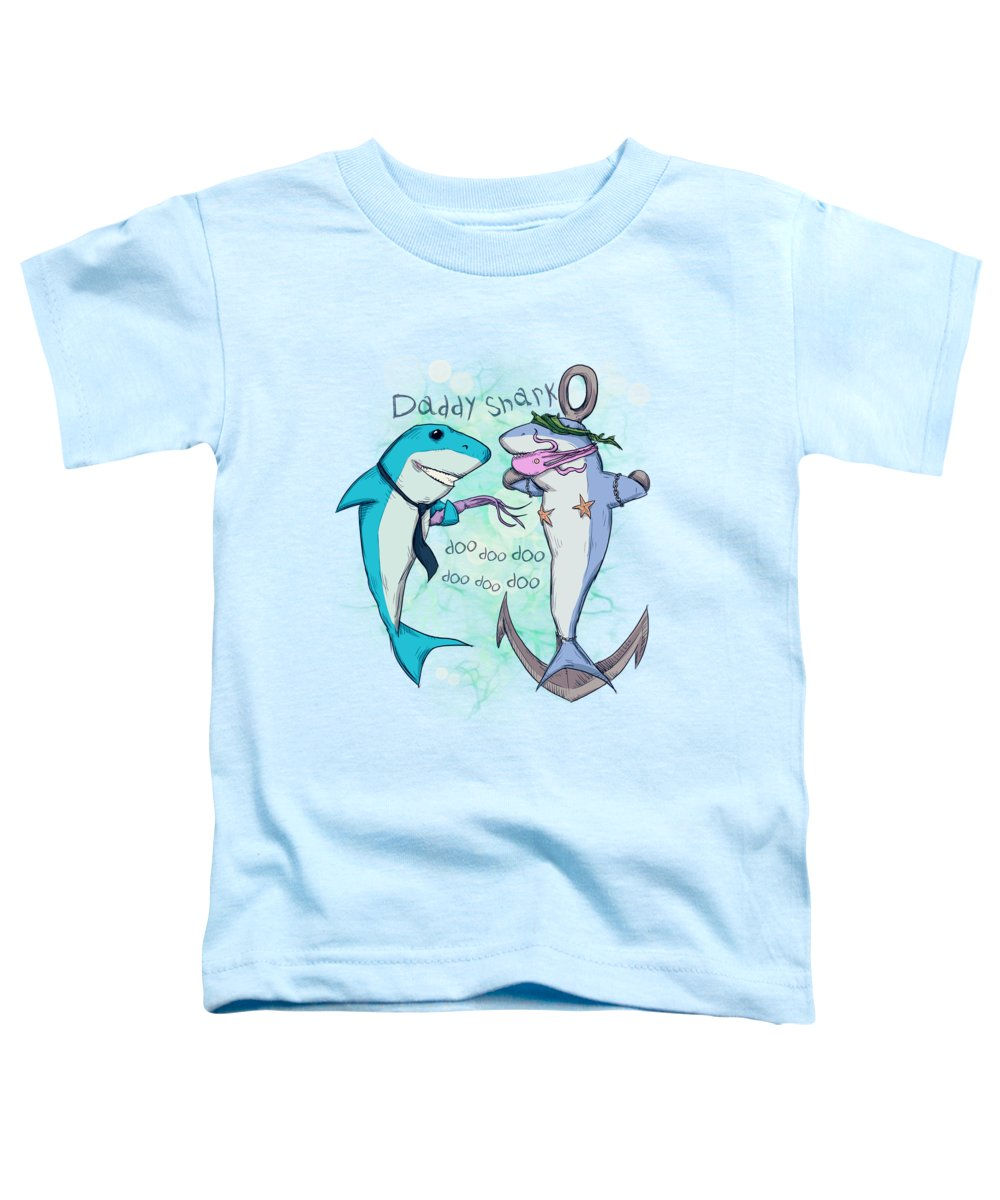 Shark Toddler T-Shirt featuring the drawing Daddy Shark 2 by Ludwig Van Bacon
