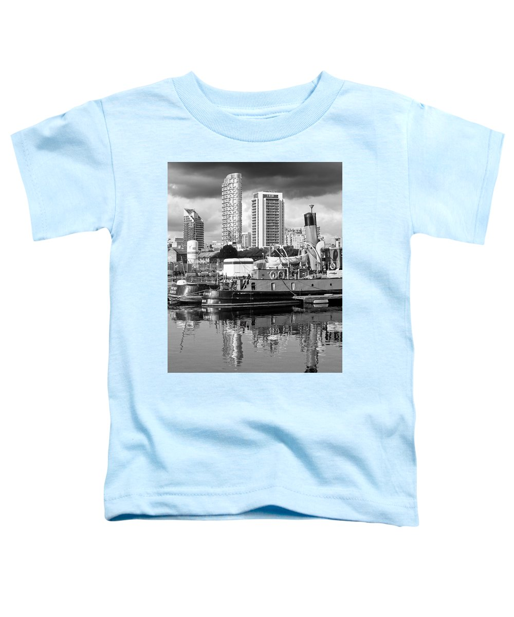 London Toddler T-Shirt featuring the photograph Docklands Boats And Construction Black And White Vertical by Gill Billington