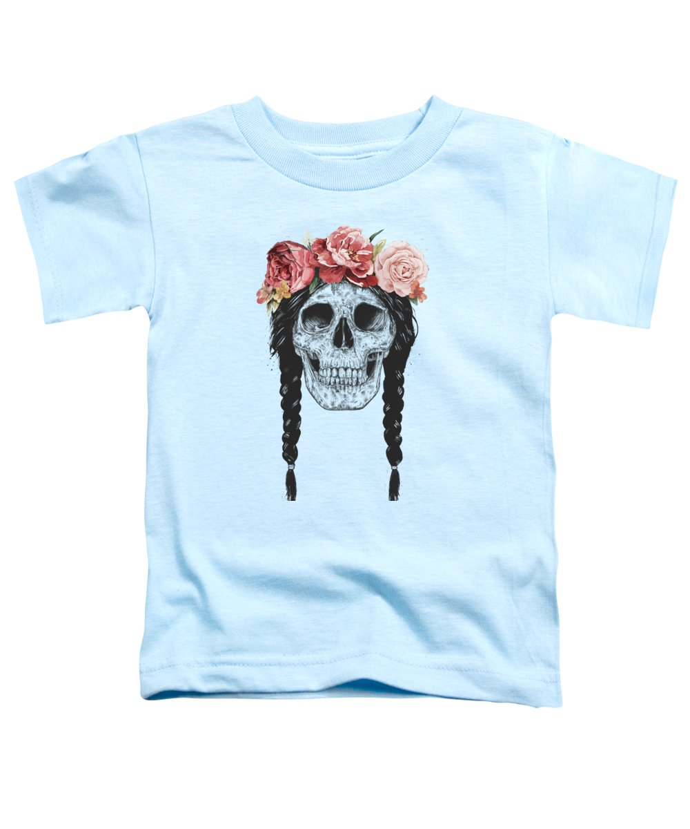 Skull Toddler T-Shirt featuring the drawing Festival skull by Balazs Solti