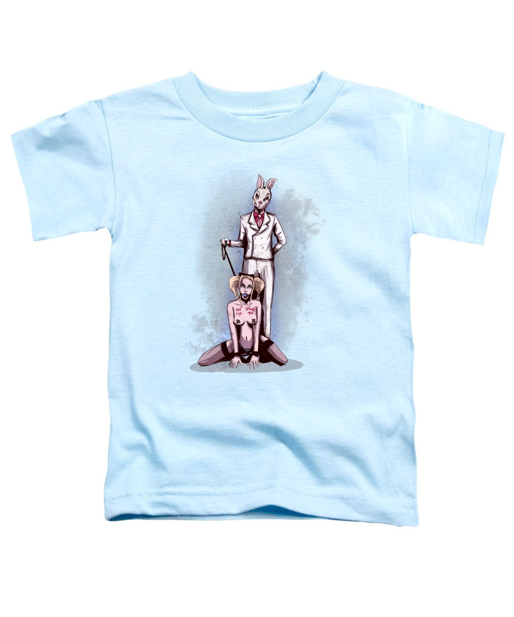 Bdsm Toddler T-Shirt featuring the drawing Follow The White Rabbit by Ludwig Van Bacon