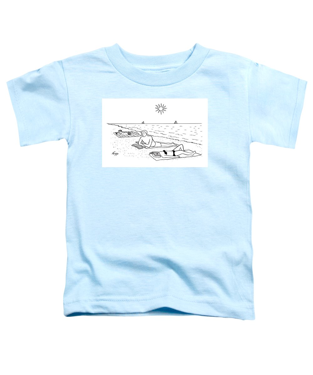 Captionless Toddler T-Shirt featuring the drawing Laptop at the Beach by Felipe Galindo