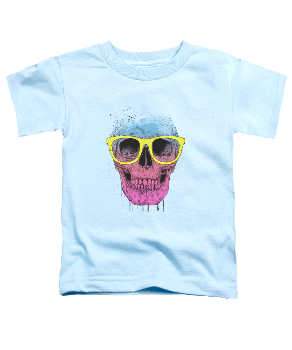 Skull Toddler T-Shirt featuring the mixed media Pop Art Skull With Glasses by Balazs Solti