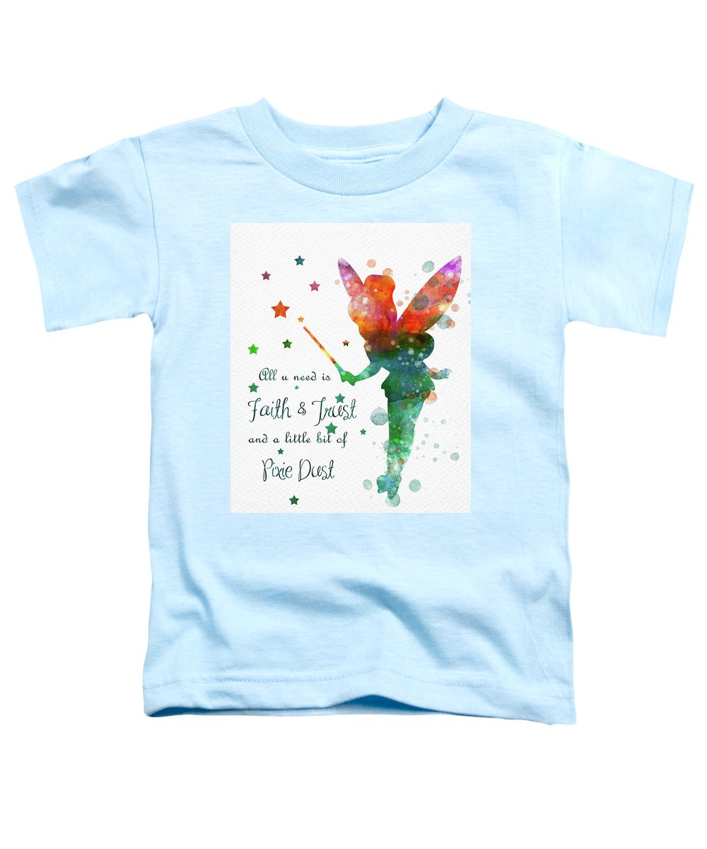 Tinkerbell Toddler T-Shirt featuring the digital art Watercolor Tinkerbell by Mihaela Pater