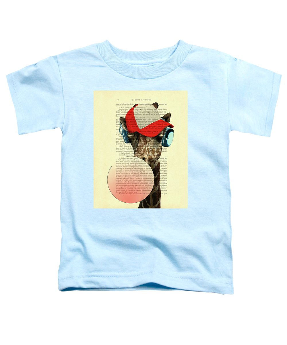 Giraffe Toddler T-Shirt featuring the digital art Funny giraffe with baseball cap and bubblegum by Madame Memento