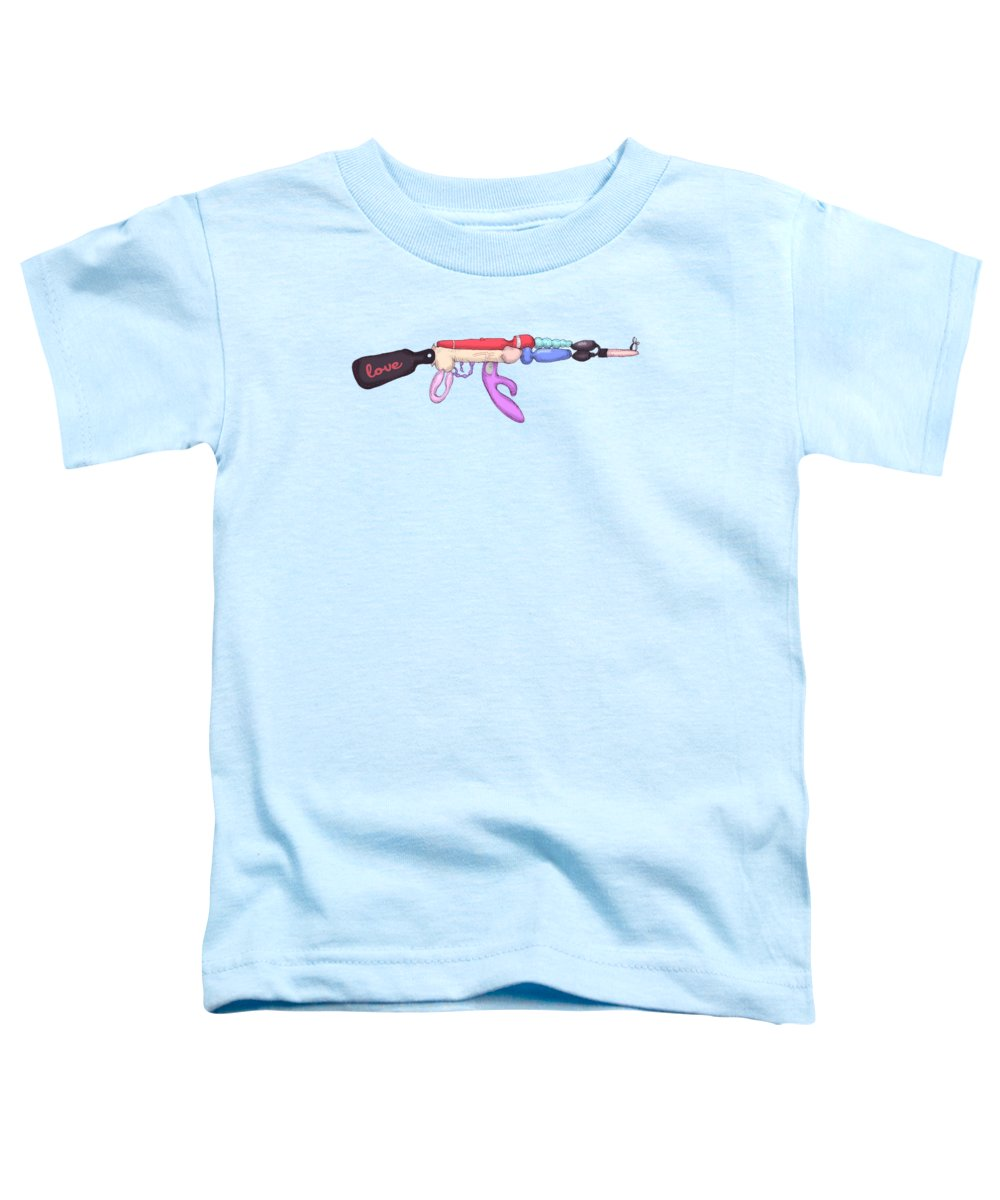 Sex Toy Toddler T-Shirt featuring the drawing Love Gun by Ludwig Van Bacon