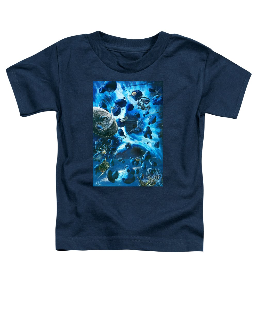 Asteroid Toddler T-Shirt featuring the painting Alien Pirates by Murphy Elliott