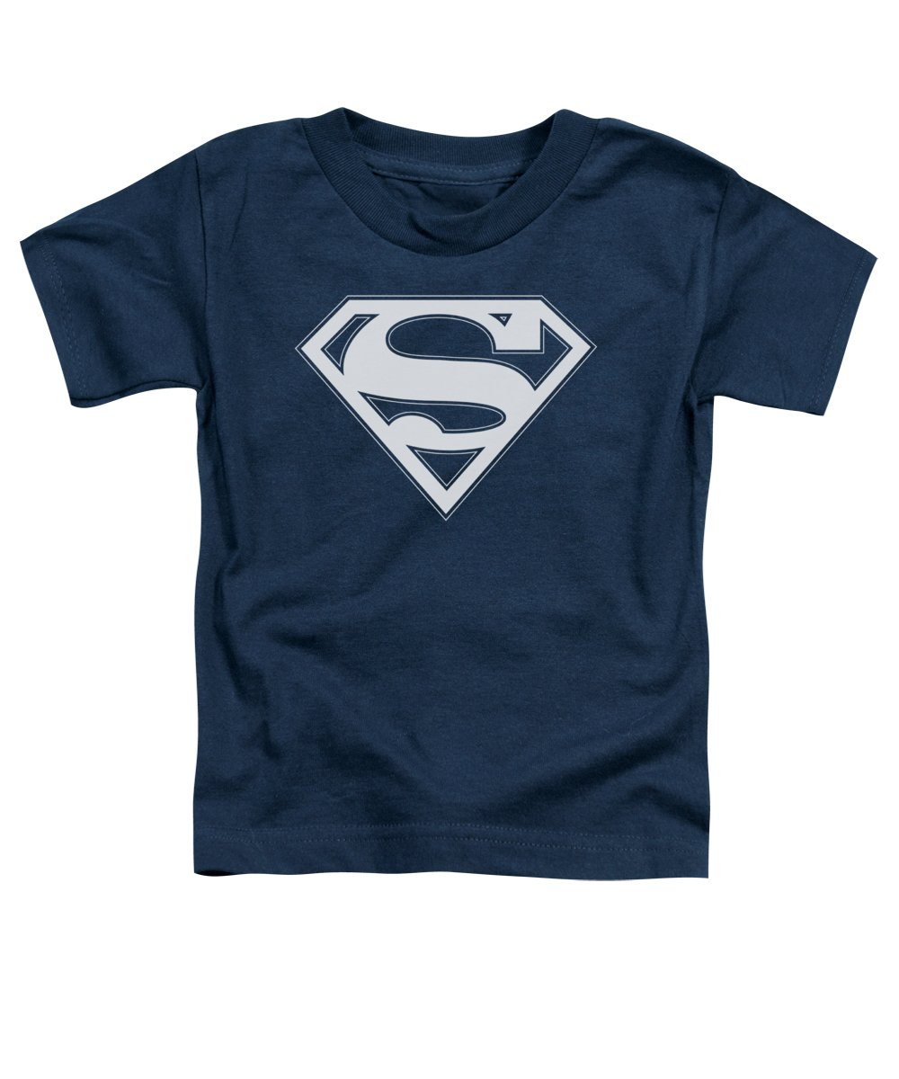 Superman Toddler T-Shirt featuring the digital art Superman - Navy And White Shield by Brand A