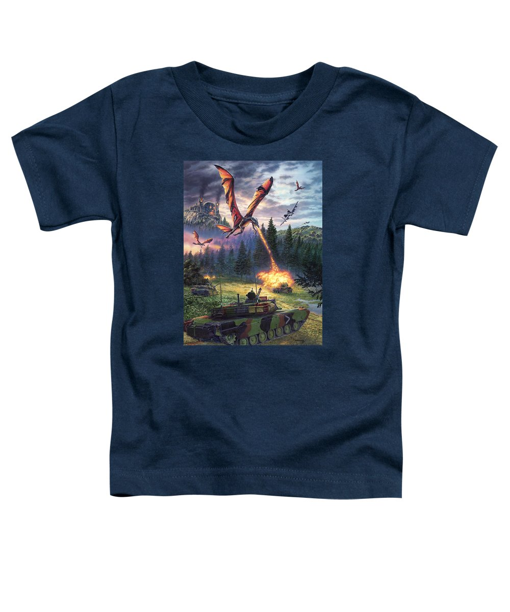 Dragon Toddler T-Shirt featuring the painting A Clash Of Worlds by Stu Shepherd