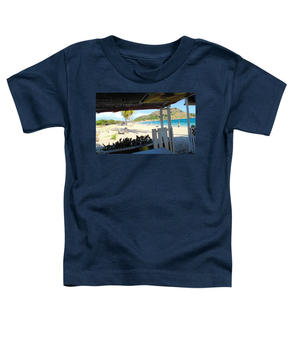 St Kitts Toddler T-Shirt featuring the photograph Beach Bar In January by Ian MacDonald