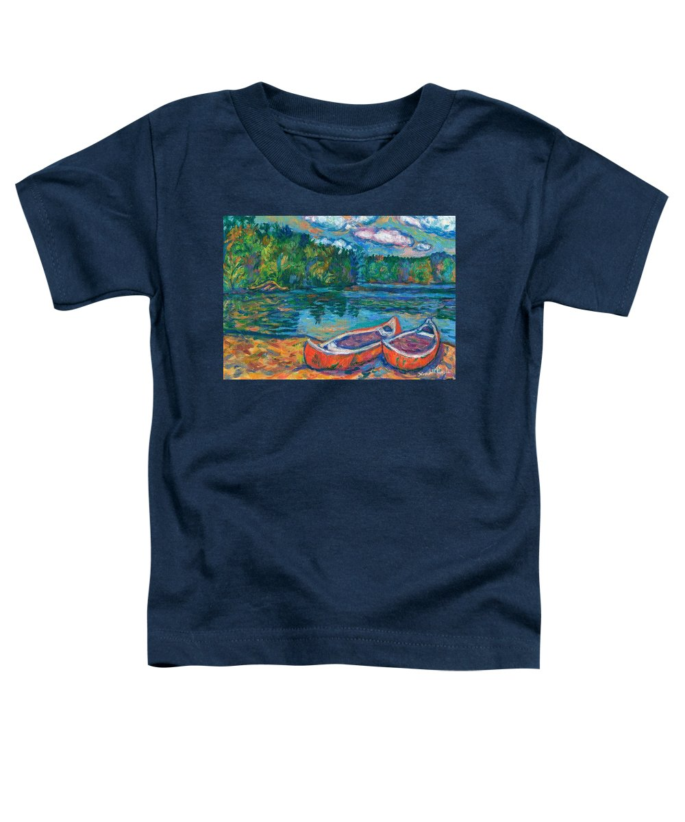 Landscape Toddler T-Shirt featuring the painting Canoes At Mountain Lake Sketch by Kendall Kessler