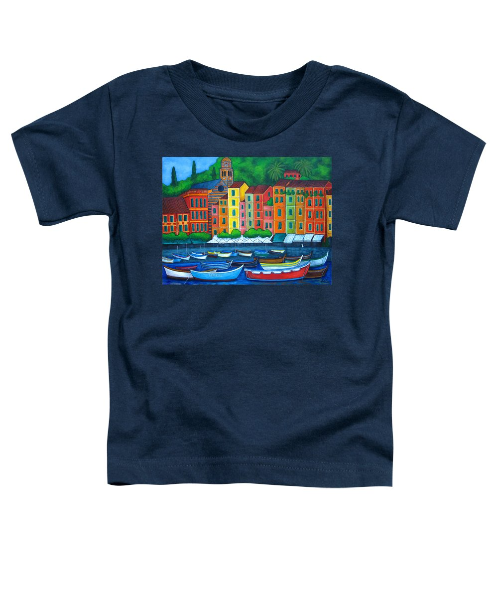Portofino Toddler T-Shirt featuring the painting Colours Of Portofino by Lisa Lorenz