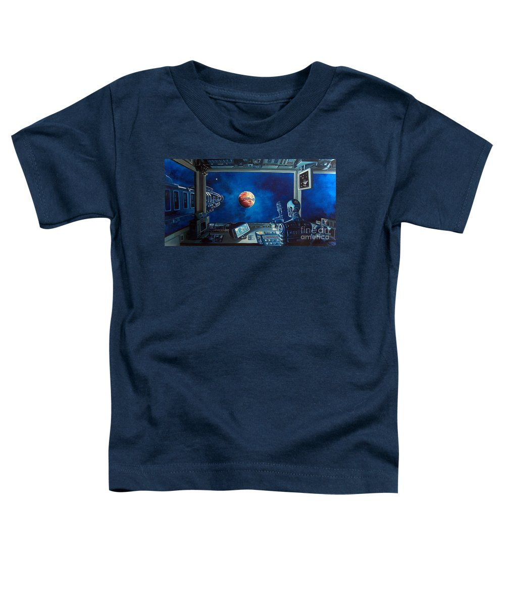 Fantasy Toddler T-Shirt featuring the painting Crying Robot by Murphy Elliott