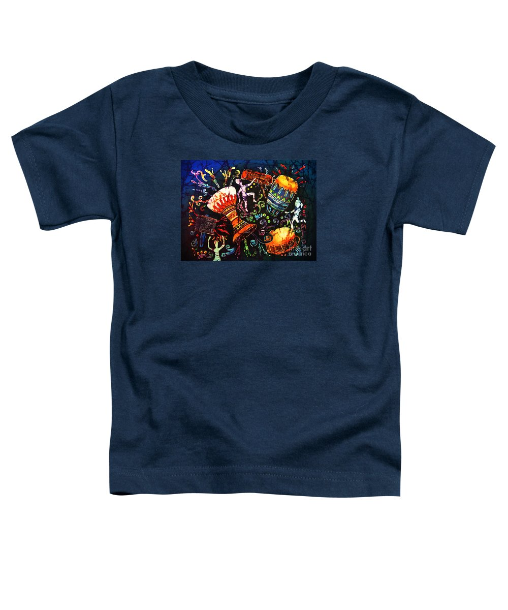 Drums Toddler T-Shirt featuring the painting Drumbeat by Sue Duda
