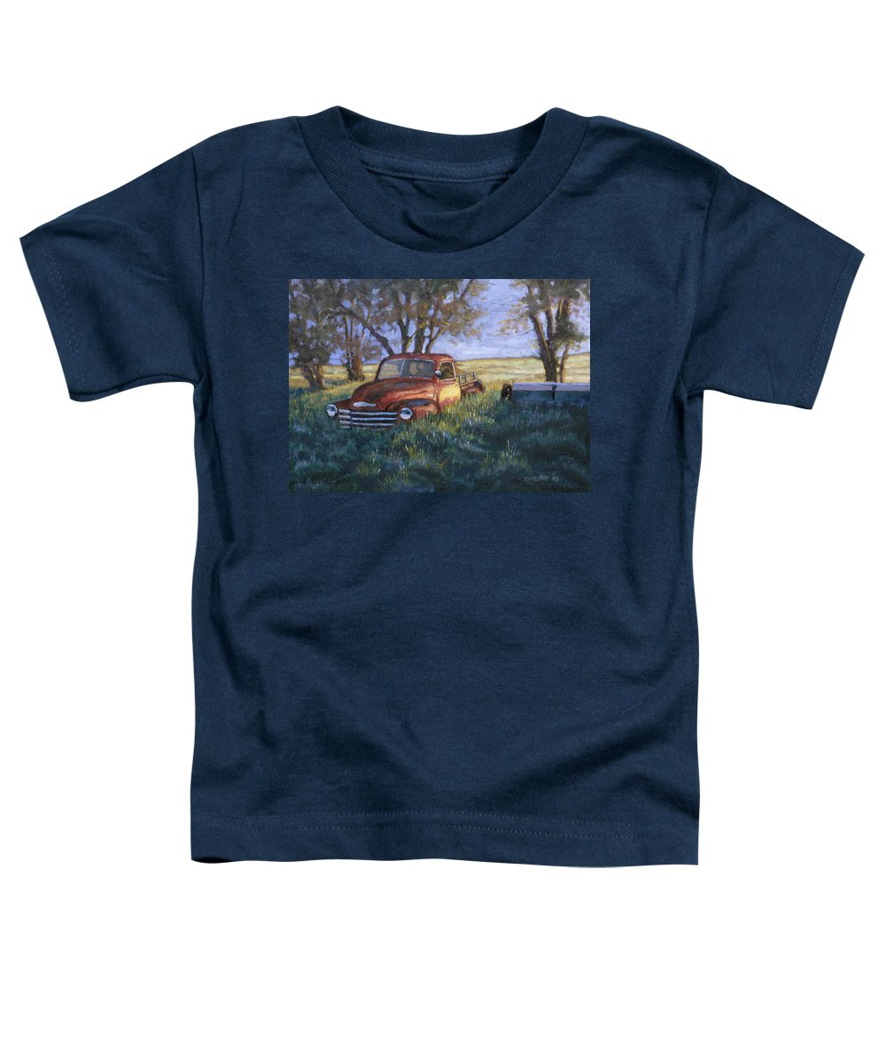 Pickup Truck Toddler T-Shirt featuring the painting Forgotten But Still Good by Jerry McElroy