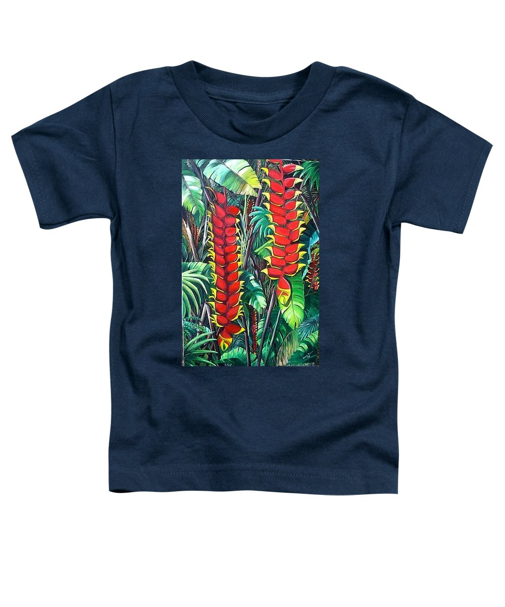 Heliconia Painting Hanging Red Heliconia Tropical Painting Toddler T-Shirt featuring the painting Heliconia Rostrata by Karin Dawn Kelshall- Best