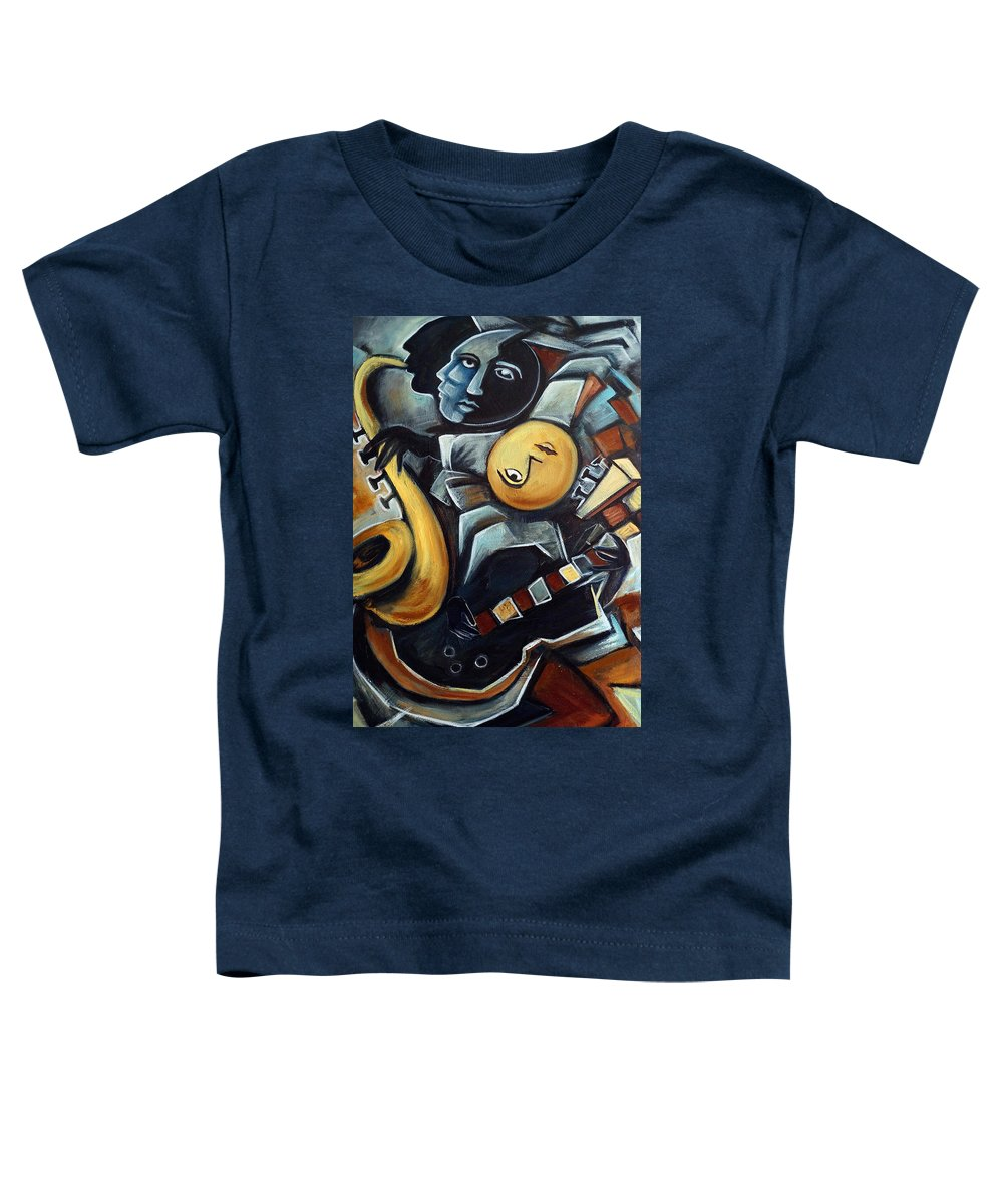 Cubism Toddler T-Shirt featuring the painting Indigo Blues by Valerie Vescovi