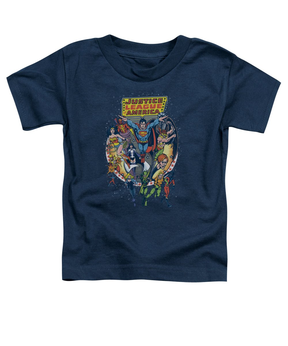 Justice League Of America Toddler T-Shirt featuring the digital art Jla - Star Group by Brand A