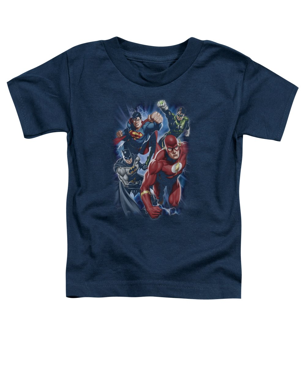 Justice League Of America Toddler T-Shirt featuring the digital art Jla - Storm Chasers by Brand A