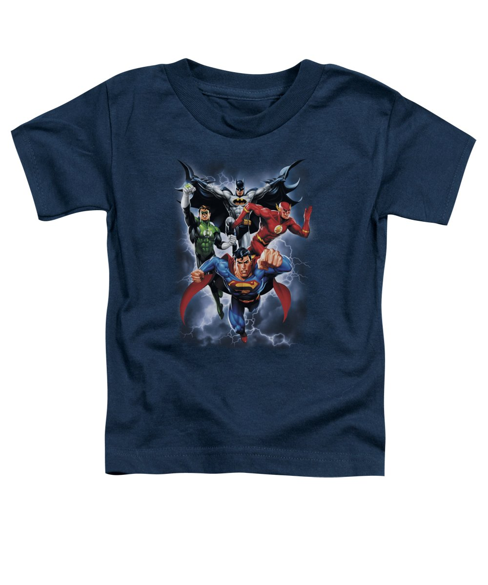 Justice League Of America Toddler T-Shirt featuring the digital art Jla - The Coming Storm by Brand A