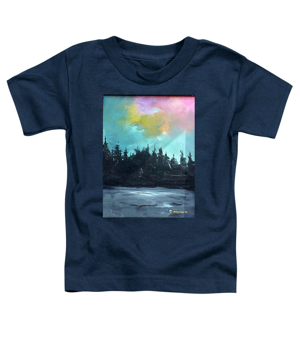 Landscape Toddler T-Shirt featuring the painting Night River by Sergey Bezhinets