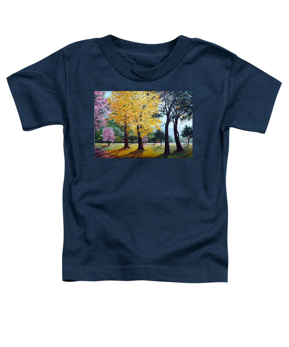 Tree Painting Landscape Painting Caribbean Painting Poui Tree Yellow Blossoms Trinidad Queens Park Savannah Port Of Spain Trinidad And Tobago Painting Savannah Tropical Painting Toddler T-Shirt featuring the painting Poui Trees In The Savannah by Karin Dawn Kelshall- Best