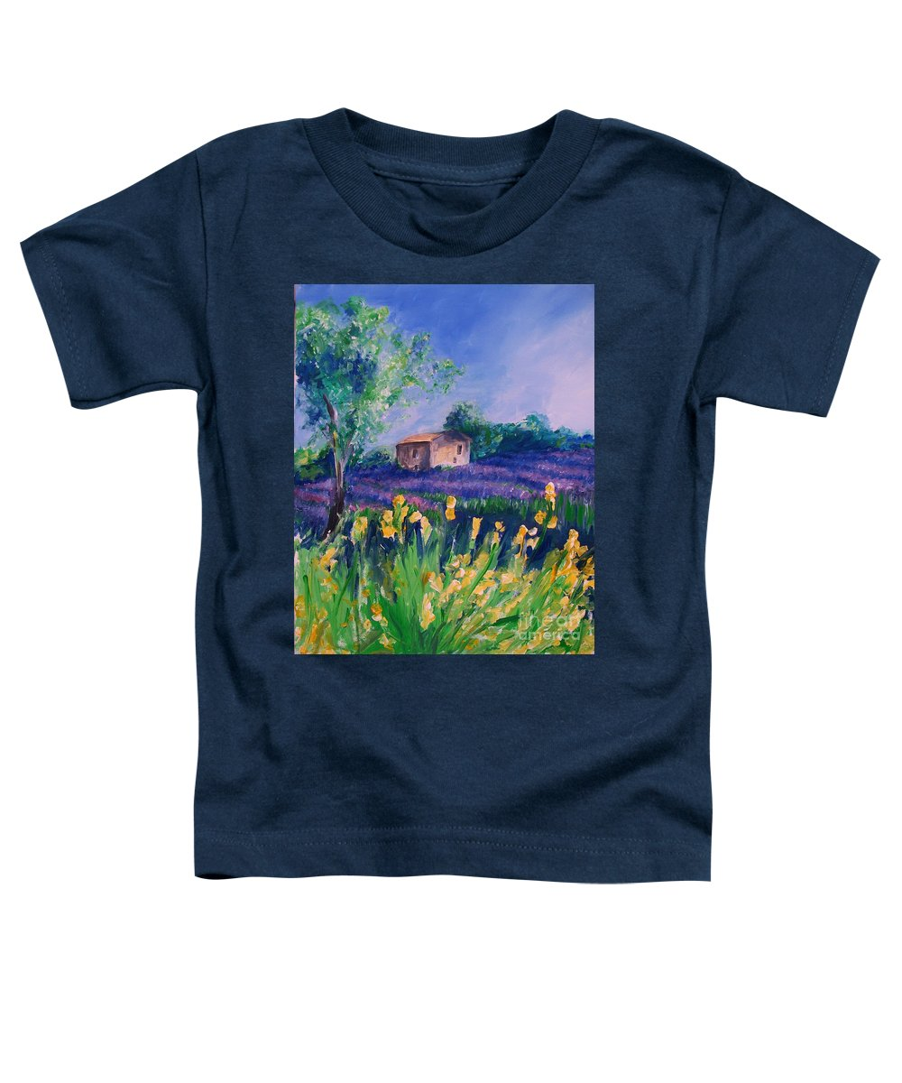 Floral Toddler T-Shirt featuring the digital art Provence Yellow Flowers by Eric Schiabor