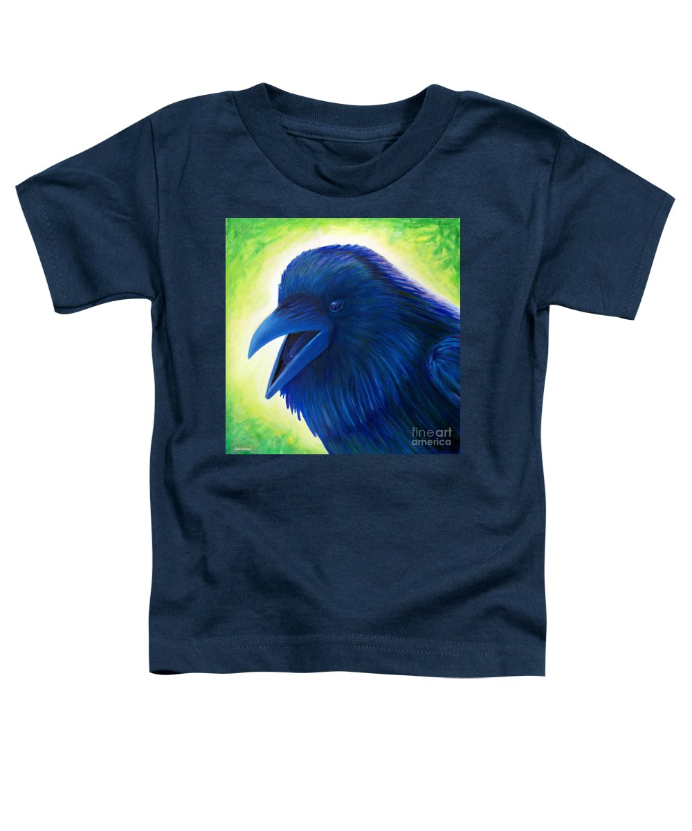 Raven Toddler T-Shirt featuring the painting Raaawk by Brian Commerford