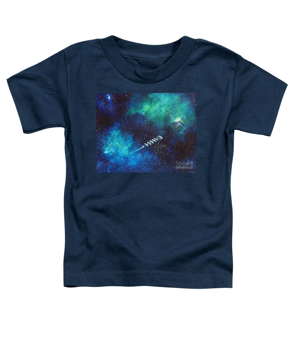 Spacescape Toddler T-Shirt featuring the painting Reaching Out by Murphy Elliott