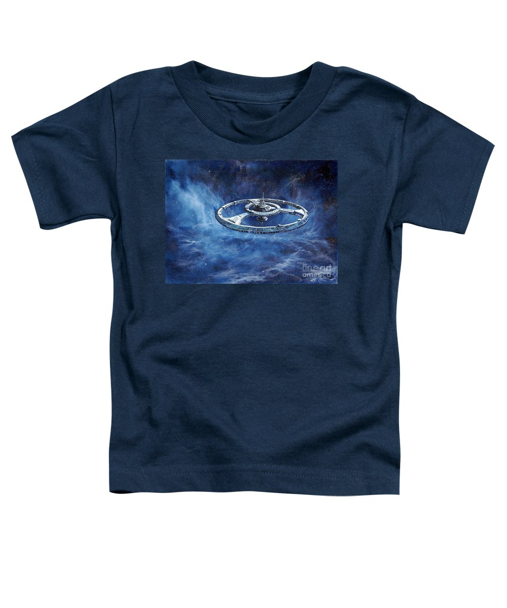Sci-fi Toddler T-Shirt featuring the painting Deep Space Eight Station Of The Future by Murphy Elliott