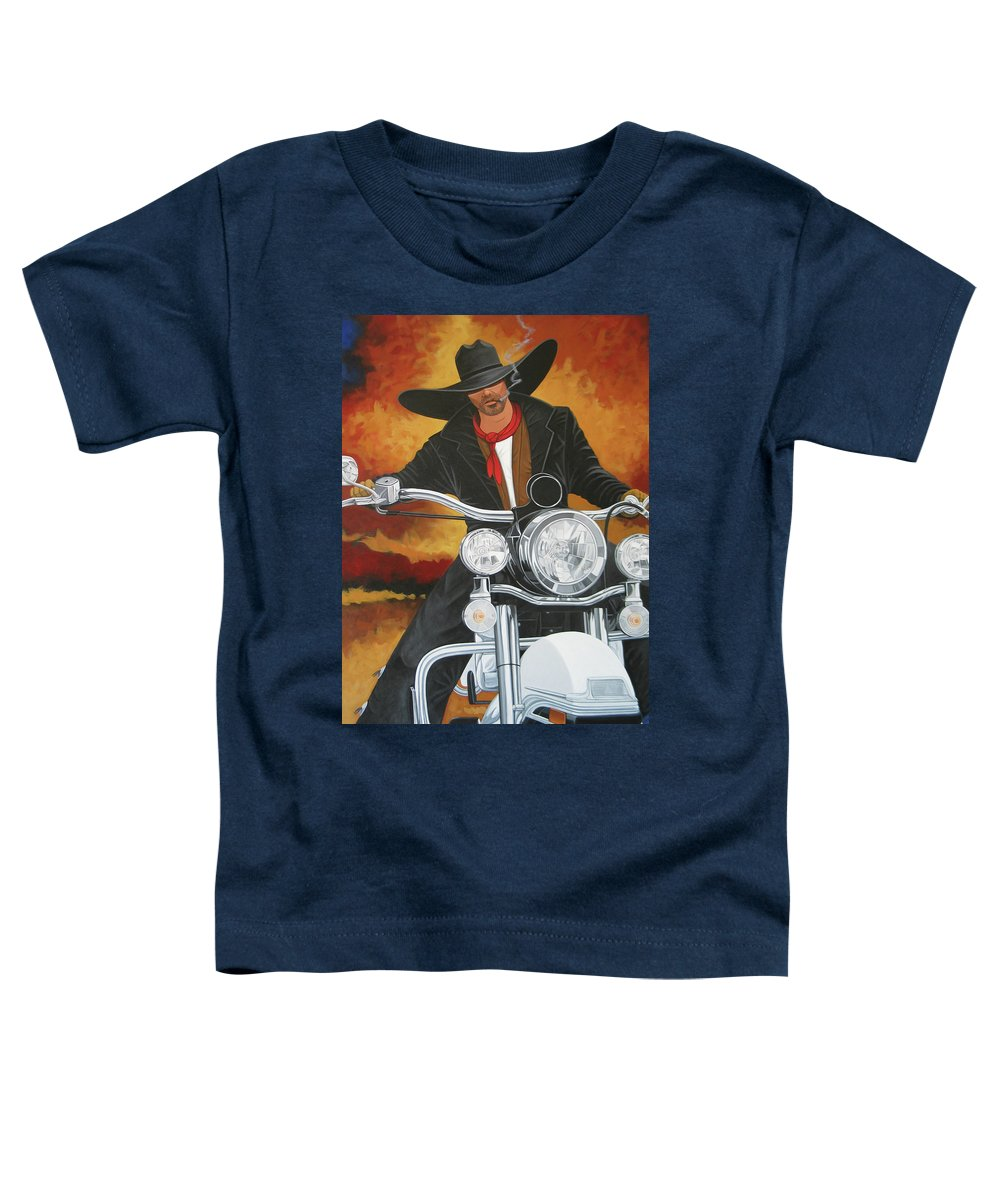 Cowboy On Motorcycle Toddler T-Shirt featuring the painting Steel Pony by Lance Headlee