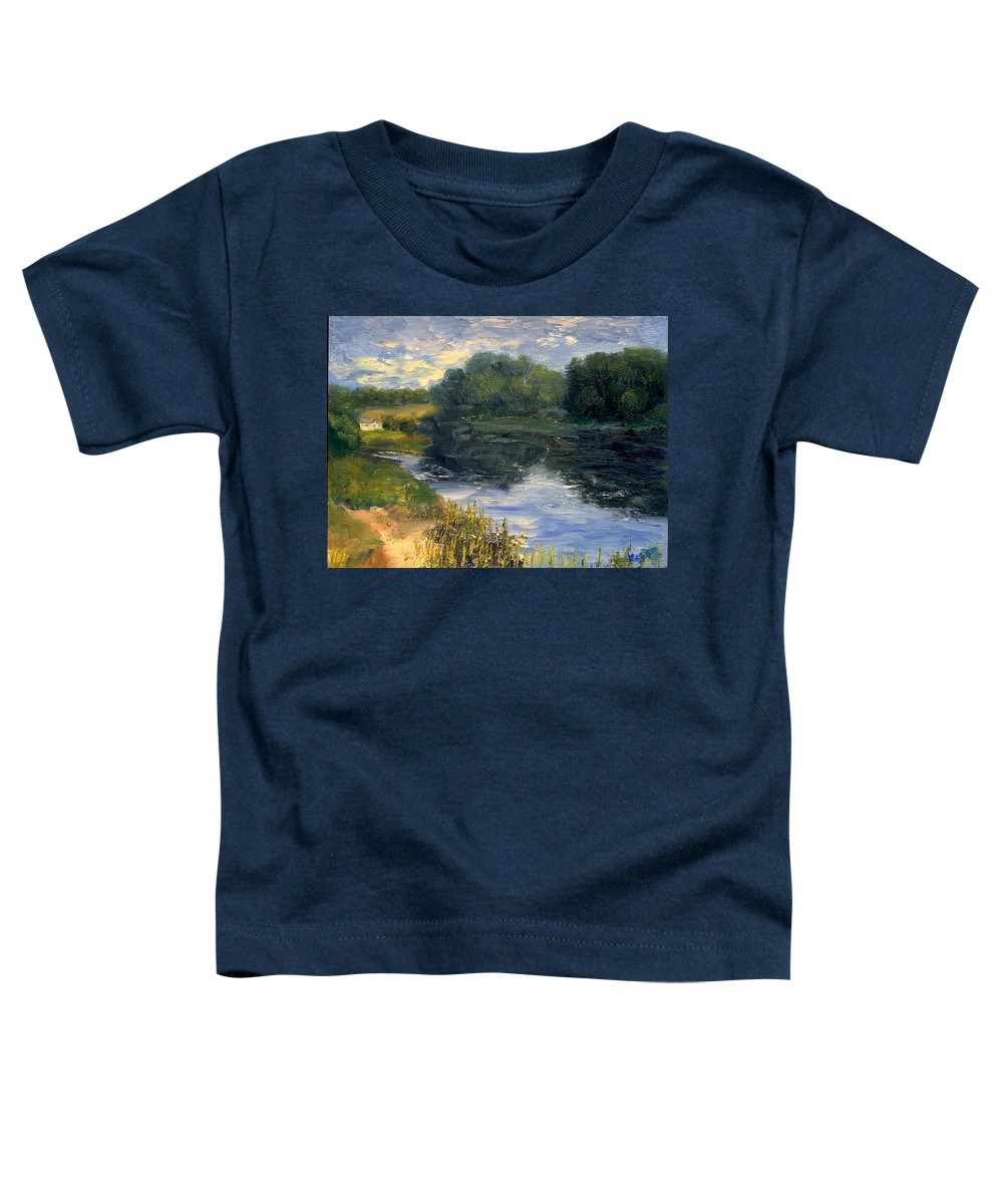 Landscape Toddler T-Shirt featuring the painting Summer At Jackson Lake by Gail Kirtz