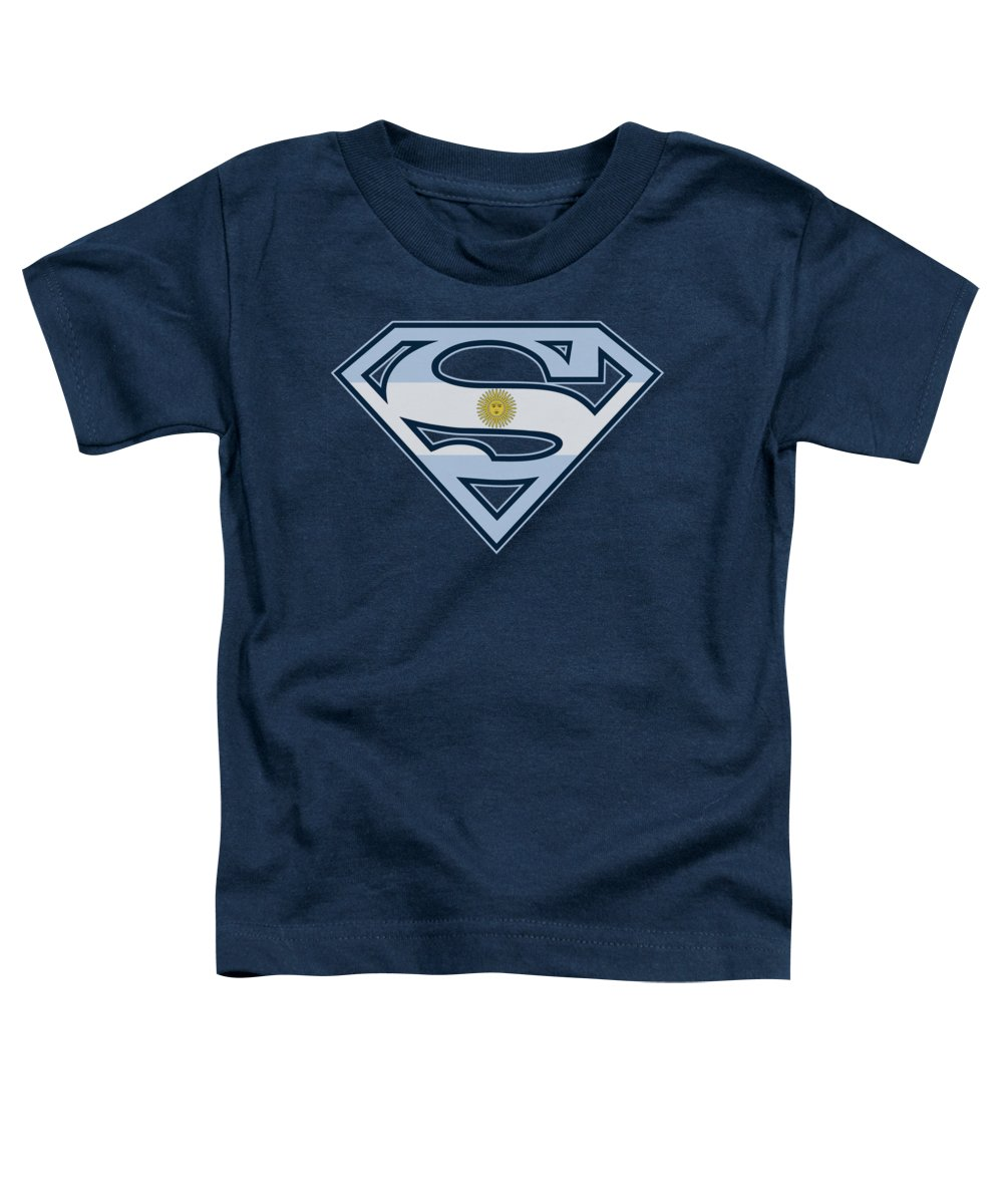 Superman Toddler T-Shirt featuring the digital art Superman - Argentinian Shield by Brand A