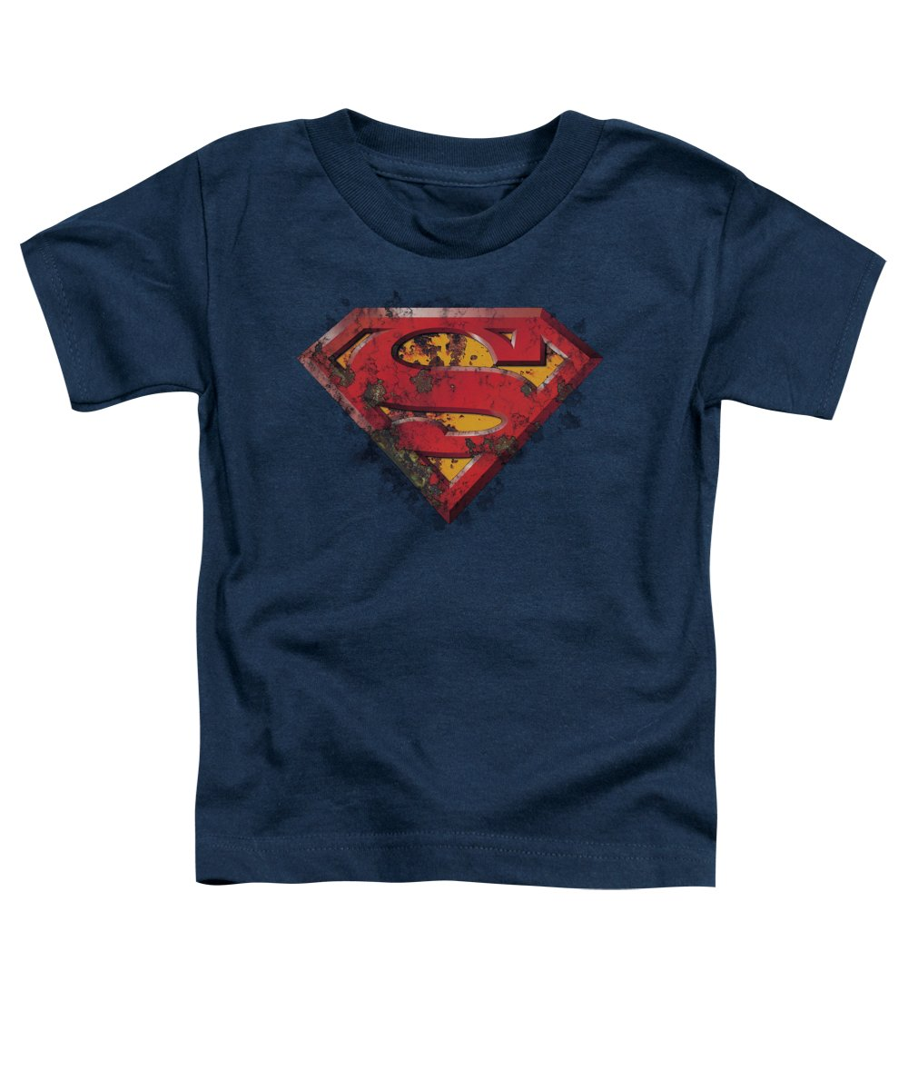 Superman Toddler T-Shirt featuring the digital art Superman - Rusted Shield by Brand A