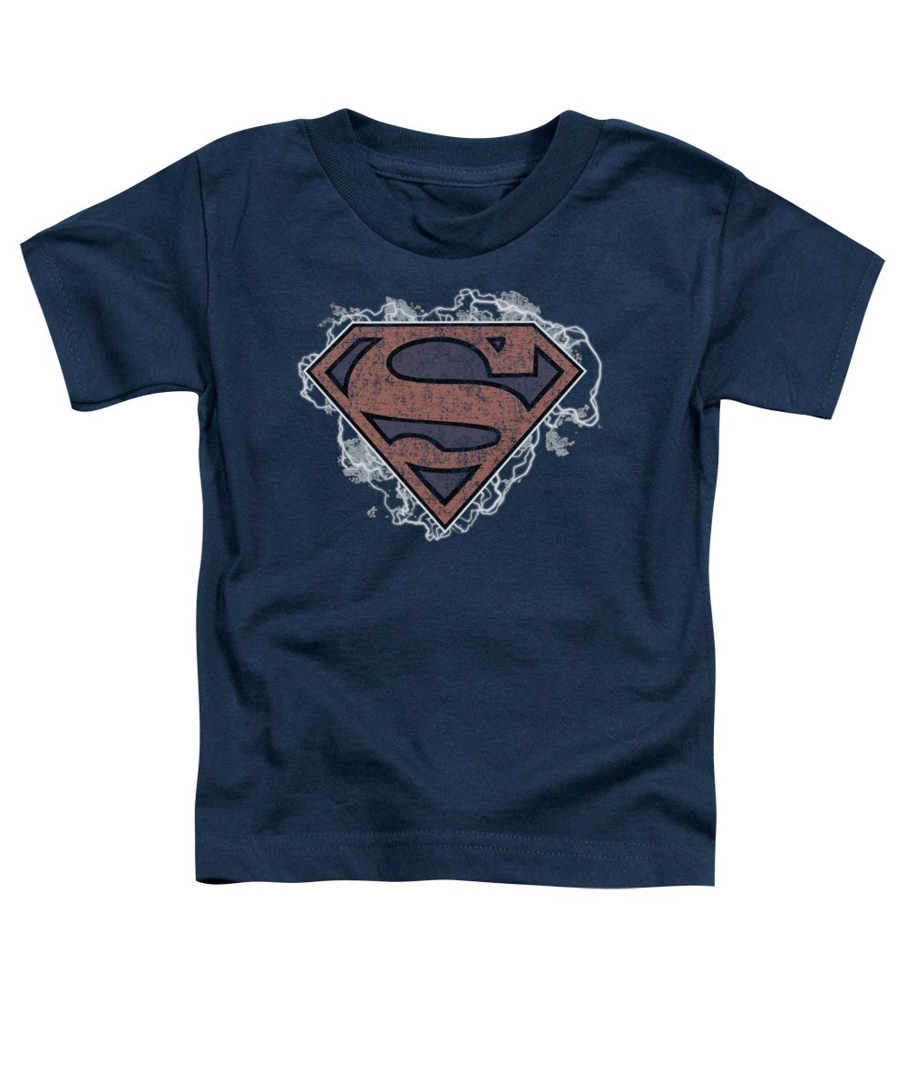 Superman Toddler T-Shirt featuring the digital art Superman - Storm Cloud Supes by Brand A