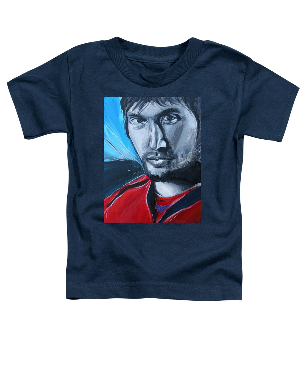 Alex Ovechkin Toddler T-Shirt featuring the painting Ovechkin by Kate Fortin