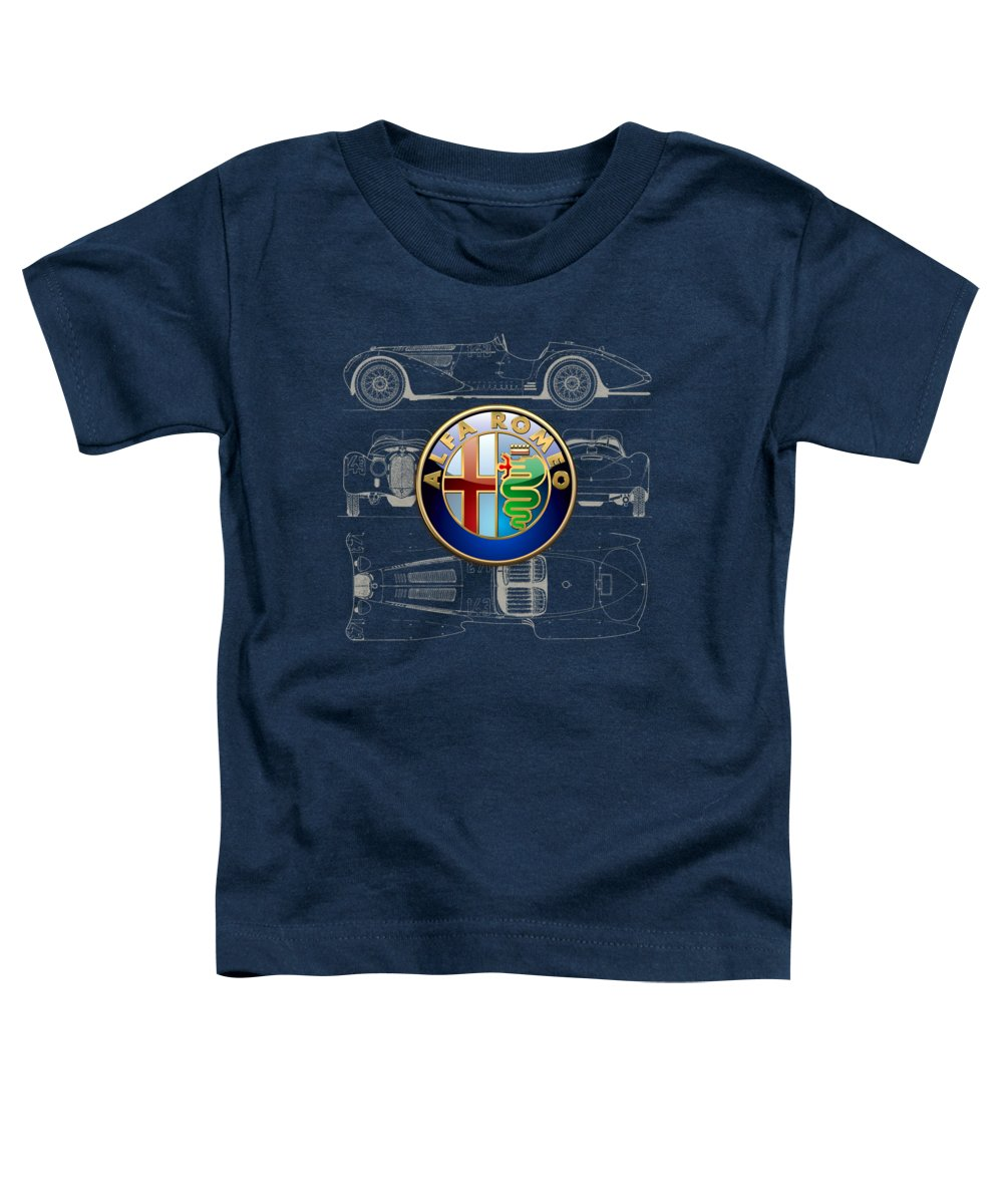 �wheels Of Fortune� By Serge Averbukh Toddler T-Shirt featuring the photograph Alfa Romeo 3 D Badge over 1938 Alfa Romeo 8 C 2900 B Vintage Blueprint by Serge Averbukh