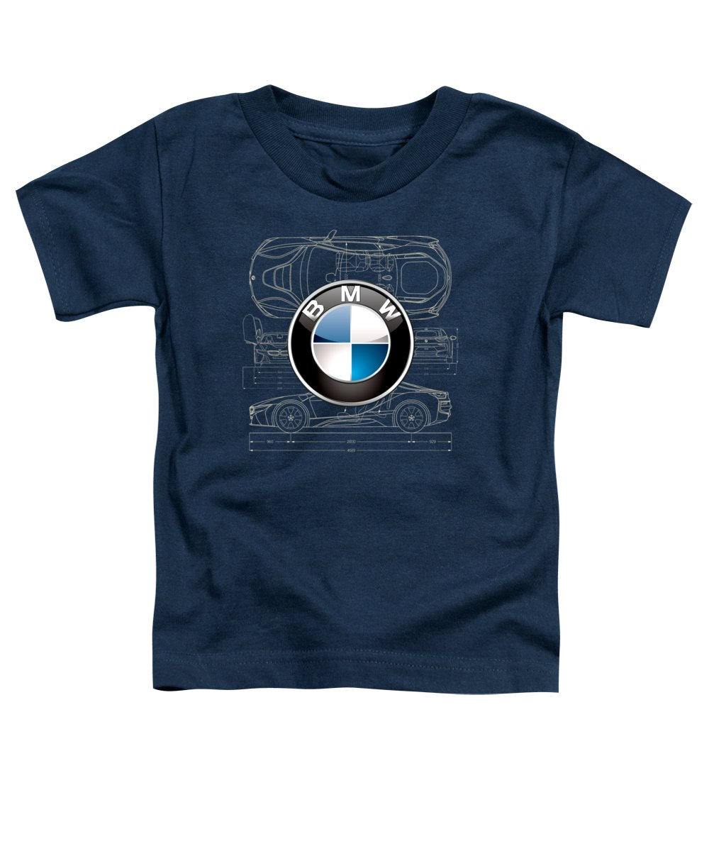 �wheels Of Fortune� By Serge Averbukh Toddler T-Shirt featuring the photograph B M W 3 D Badge over B M W i8 Blueprint by Serge Averbukh