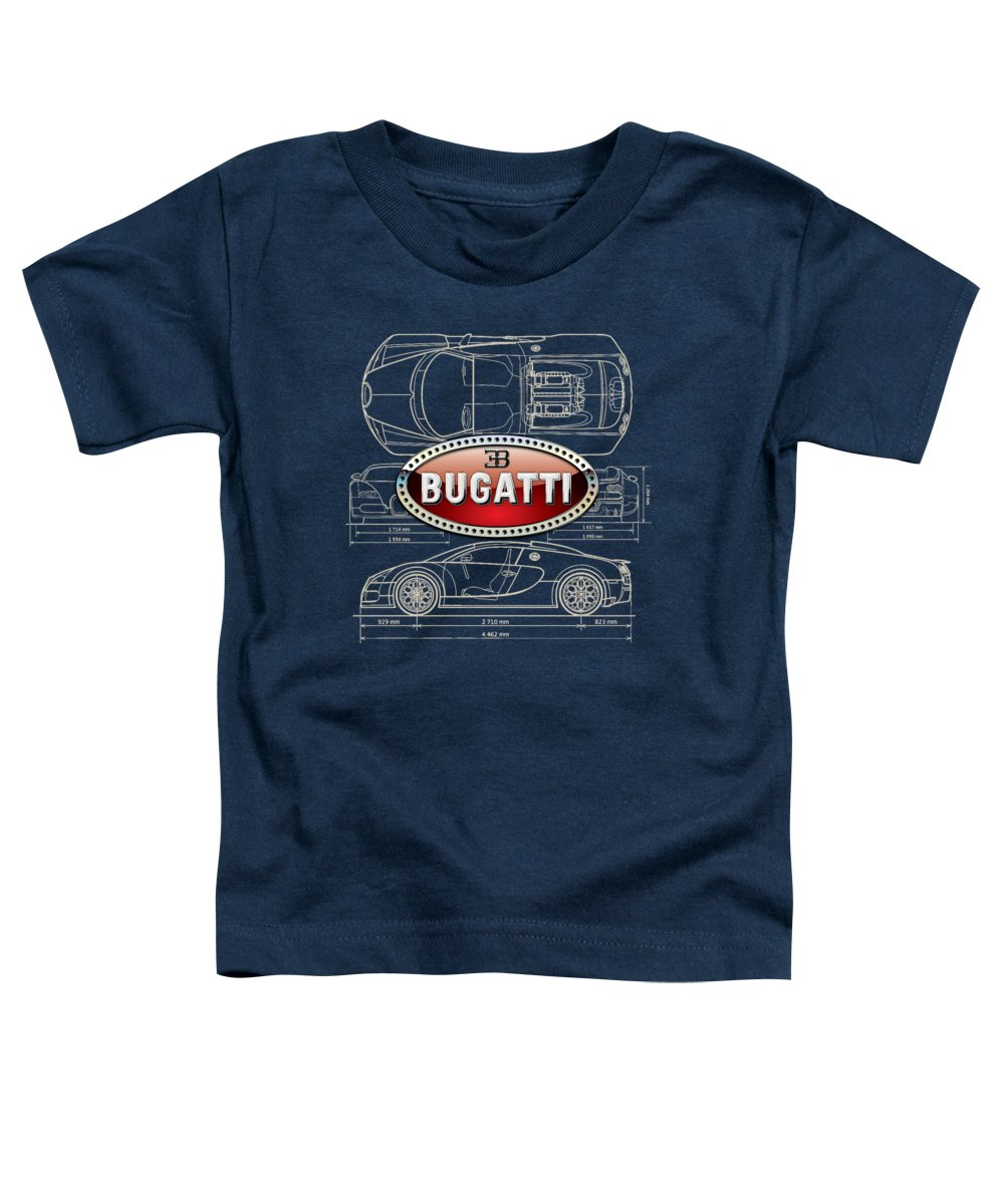 �wheels Of Fortune� By Serge Averbukh Toddler T-Shirt featuring the photograph Bugatti 3 D Badge over Bugatti Veyron Grand Sport Blueprint by Serge Averbukh