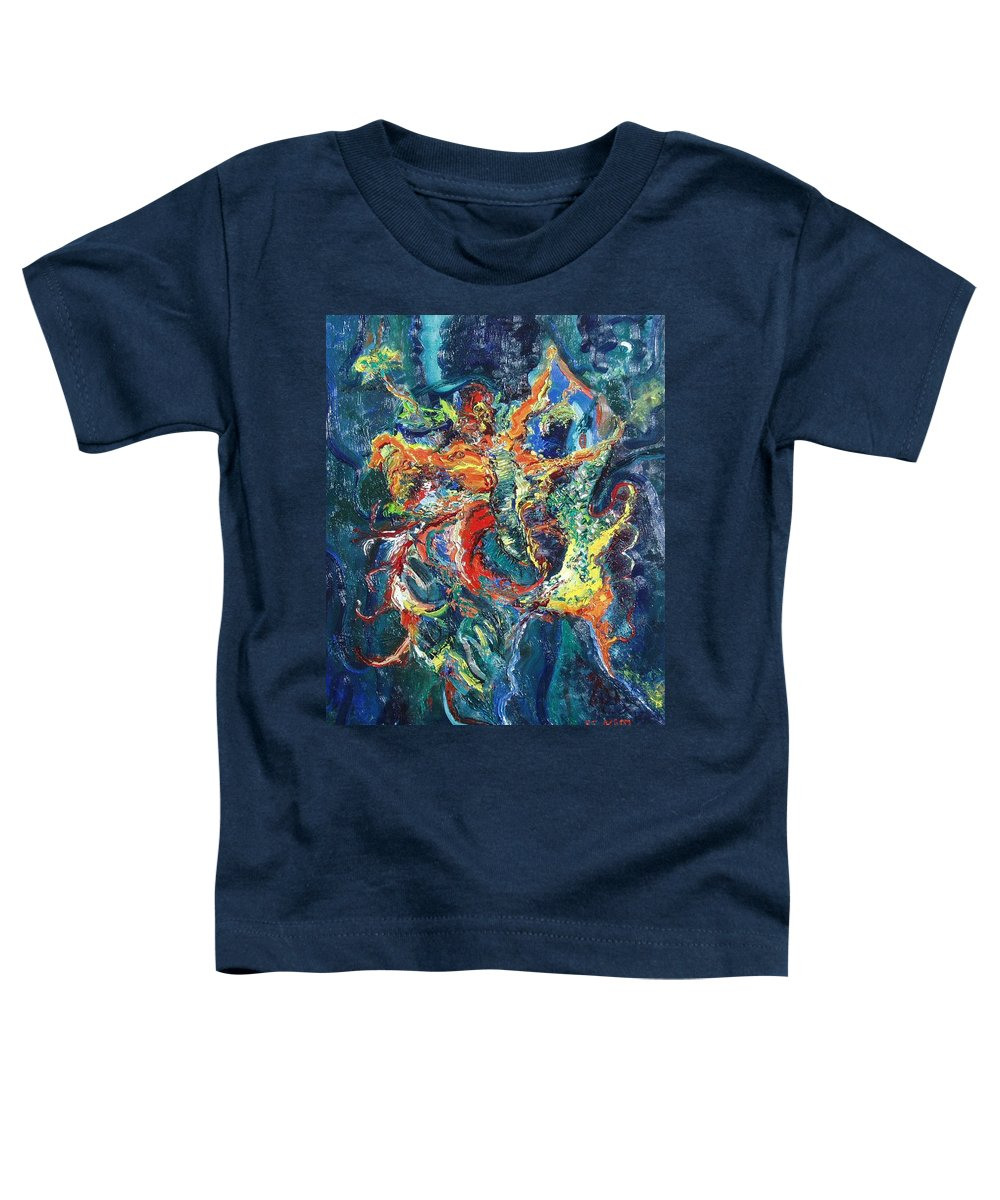 Butterfly Paintings Toddler T-Shirt featuring the painting Dancing Butterflies by Seon-Jeong Kim