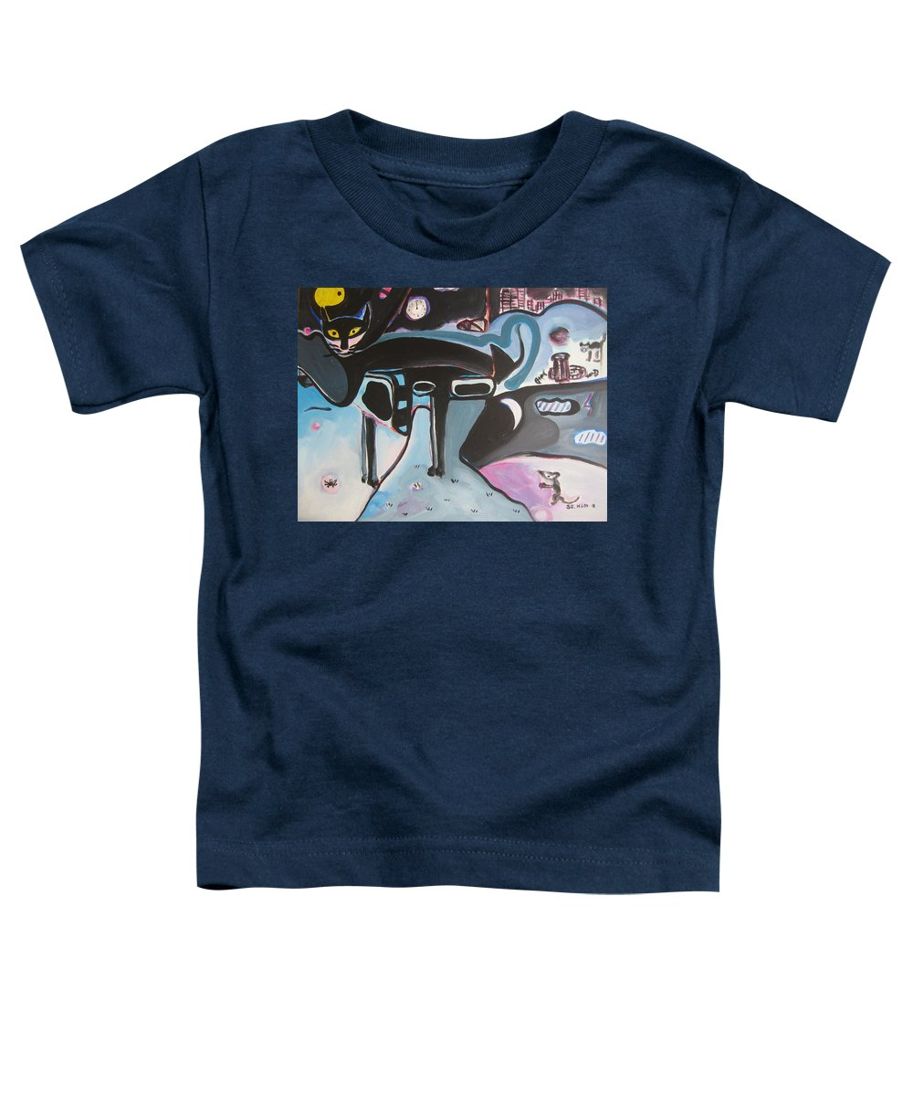 Cat Paintings Toddler T-Shirt featuring the painting Let Me Out by Seon-Jeong Kim