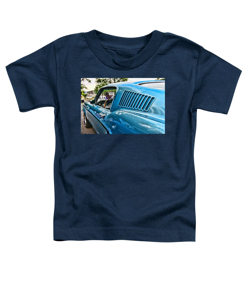 1968 Ford Mustang Fastback In Blue Toddler T-Shirt featuring the photograph 1968 Ford Mustang Fastback In Blue by Paul Ward