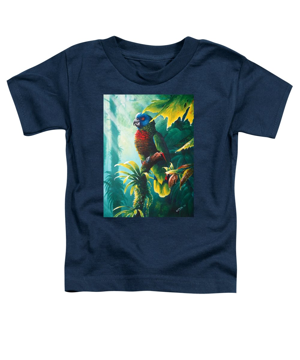 Chris Cox Toddler T-Shirt featuring the painting A Shady Spot - St. Lucia Parrot by Christopher Cox